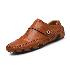 Men's Nappa Leather Spring / Summer / Fall Casual / Comfort Loafers  Slip-Ons Walking Shoes Black / Brown