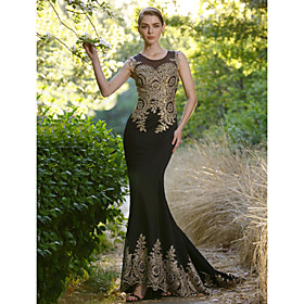 Mermaid / Trumpet Illusion Neckline Sweep / Brush Train Spandex Formal Evening Dress with Crystal Detailing by Sarahbridal