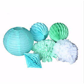 Image of Wedding Decoration 6pieces-Mint Blue Paper Lantern Mint Blue and Green Honeycomb Ball Mint green and White Paper Flower New Diamond Honeycomb Ball