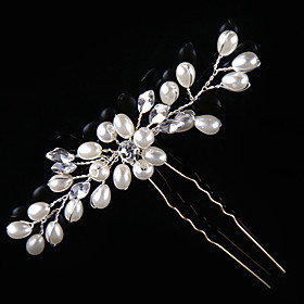 Pearl Crystal Alloy Headpiece-Wedding Special Occasion Casual Hair Clip Hair Pin Hair Stick 2 Pieces 5668365