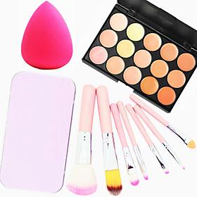 15 Colors Facial Face Contour Concealer Cream Palette7PCS Pink Box Makeup Brushes Set KitPowder Puff