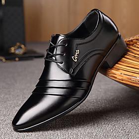 Men's Formal Shoes Microfiber Spring / Fall Business Oxfords Walking Shoes Black / Lace-up / Split Joint / Comfort Shoes