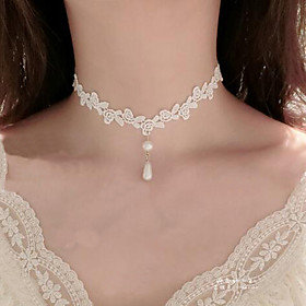 Women's Choker Necklace / Pendant - Imitation Pearl, Lace Flower Tattoo Style, Dangling Style White Necklace Jewelry For Wedding, Party, Special Occasion / Bir