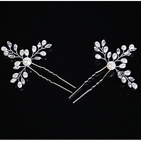 Pearl Crystal Alloy Headpiece-Wedding Special Occasion Casual Hair Clip Hair Pin Hair Stick 2 Pieces 5668366