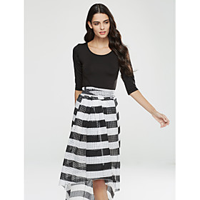 Women's Going out Street chic Fall T-shirt Skirt Suits,Striped U Neck Long Sleeve Polyester