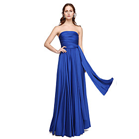 A-Line Strapless One Shoulder V-neck Floor Length Jersey Bridesmaid Dress with Pleats Criss Cross by LAN TING BRIDE