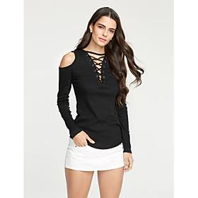 Women's Going out / Club Sexy / Street chic Spring / Fall T-shirtSolid Deep V Long Sleeve Criss-Cross  Cut Out Medium