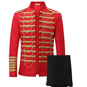 Prince Cosplay Costume / Blazer Jacket  Pants Men's Christmas / Halloween / Carnival Festival / Holiday Halloween Costumes Red Solid Colored / Lace