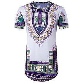 T-shirt Da uomo Per uscire Casual Serata Vintage Boho Moda citt�Con stampe Rotonda Cotone Poliestere Manica corta