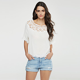 Women's Casual/Daily Cute Spring / Fall T-shirt,Solid Boat Neck Long Sleeve White Polyester Medium