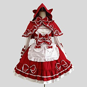 Image of One-Piece/Dress Coat Blouse/Shirt Gothic Lolita Rococo Cosplay Lolita Dress Red Solid Long Sleeve Knee-length Cloak Shirt Dress For Cotton