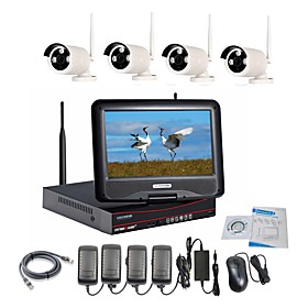 Strongshine Wireless IP Camera with 960P/Infrared/Waterproof and NVR with 10.1Inch LCD Combo Kits