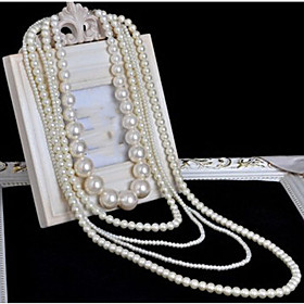 Women's Long Layered Necklace Pearl Strands Long Necklace Pearl Ladies Bridal Multi Layer Long White Necklace Jewelry 1pc For Wedding Party Special Occasion Bi