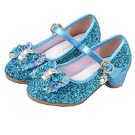 Girls' Shoes PU(Polyurethane) Spring  Summer Basic Pump Heels Crystal / Bowknot for Silver / Blue
