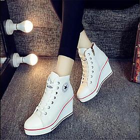 Women's Canvas Spring / Fall Comfort Sneakers Wedge Heel Sky Blue / Red / Pink / EU39