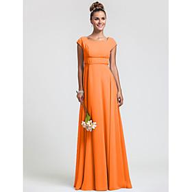 Sheath / Column Square Neck Floor Length Chiffon Bridesmaid Dress with Sash / Ribbon Pleats by LAN TING BRIDE plus size,  plus size fashion plus size appare