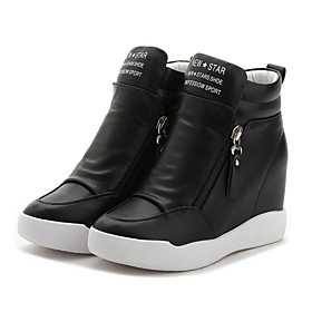 Women's Microfiber Spring / Summer Creepers Sneakers Walking Shoes Wedge Heel Round Toe Zipper White / Black