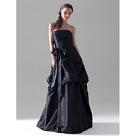 LAN TING BRIDE Floor-length Strapless Bridesmaid Dress Sleeveless Taffeta plus size,  plus size fashion plus size appare