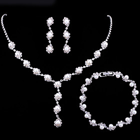 Women's Crystal Pearl Jewelry Set Dainty, Ladies,