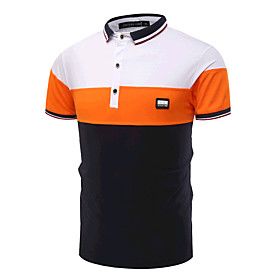 Men's Business Casual Active Cotton Slim Polo - Color Block Shirt Collar Black  White 5774992