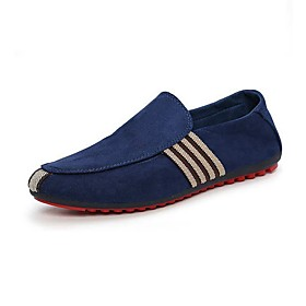 Men's Shoes Suede Summer / Fall Comfort / Light Soles Loafers  Slip-Ons Walking Shoes Black / Dark Blue