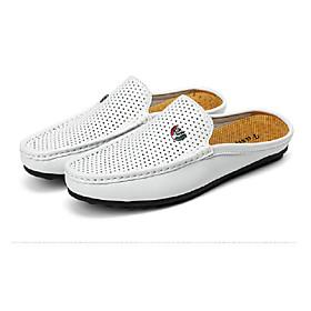 Men's PU(Polyurethane) Spring / Summer Comfort Loafers  Slip-Ons Walking Shoes White / Black / Brown / Wedding / Party  Evening