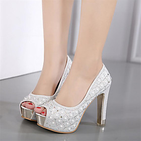 Women's Shoes Leatherette Spring / Summer Novelty / Club Shoes Heels Chunky Heel Round Toe / Peep Toe Rhinestone Black / Silver / Wedding / Party  Evening