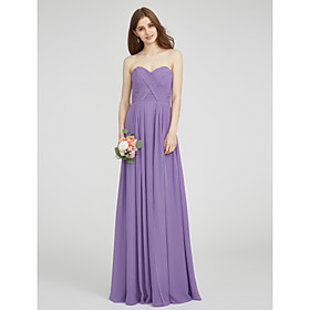 A-Line Sweetheart Floor Length Chiffon Bridesmaid Dress with Criss Cross Ruching by LAN TING BRIDE
