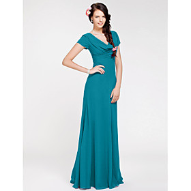 Sheath / Column Cowl Neck Floor Length Georgette Bridesmaid Dress with Side Draping by LAN TING BRIDE plus size,  plus size fashion plus size appare