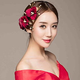 Burgundy Headpiece-Wedding Special Occasion Casual Outdoor Hair Combs Hair Pin 5 Pieces