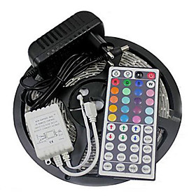 ZZDM Waterproof 5M 24W 300SMD 2835 RGB LED Strip Light 44Key Remote Controller Kit 3A Power Supply AC110-240V