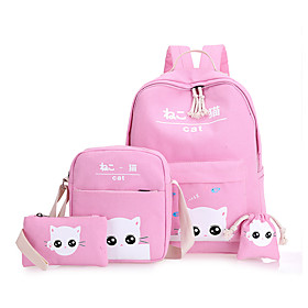 Children's Bags Canvas School Bag for Casual Sports All Seasons Green Black Blushing Pink Beige Gray