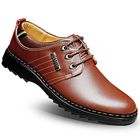 Men's Formal Shoes Cowhide Summer / Fall Oxfords Walking Shoes Black / Brown / Navy Blue / Wedding / Split Joint / Comfort Shoes