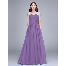 Sheath / Column Strapless Floor Length Chiffon Bridesmaid Dress with Flower(s) Criss Cross by LAN TING BRIDE