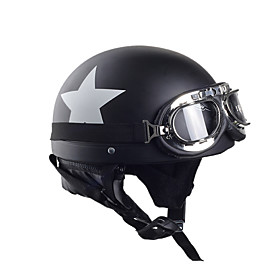 Motorcycle Helmets With Goggles Visor Vintage Motocross Half Face Helmet Carbon White Star 55cm-60cm For Harley kawasaki 5849022