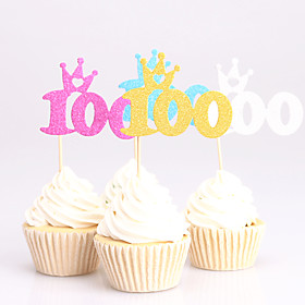 24pcs 100days birthday decorations cupcake toppers picks Kids party decoration baby shower paper glitter cup cake topper 5840087