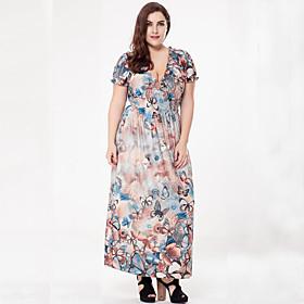 Ample Robe Femme Grandes Tailles Bohème,Imprimé V Profond Maxi Manches Courtes Polyester Eté Automne Taille Haute Micro-élastique Moyen