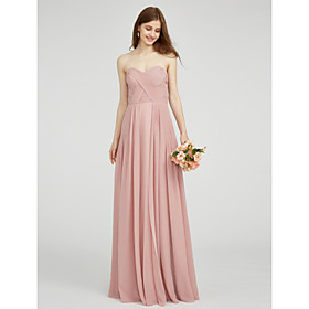 A-Line Sweetheart Floor Length Chiffon Bridesmaid Dress with Ruched Criss Cross by LAN TING BRIDE