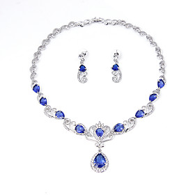 Plated Red Zircon NecklaceEarrings African Wedding Bridal Party Jewelry Sets..
