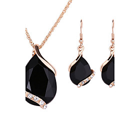 Women Crystal Heart Necklace Earrings Jewellery Set Gold Plated Jewelry Sets..