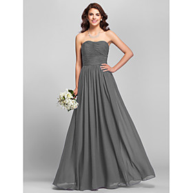 A-Line Strapless Floor Length Chiffon Bridesmaid Dress with Side Draping Ruching by LAN TING BRIDE plus size,  plus size fashion plus size appare