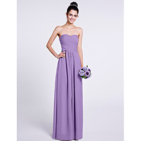A-Line Strapless Sweetheart Floor Length Chiffon Bridesmaid Dress with Criss Cross by LAN TING BRIDE