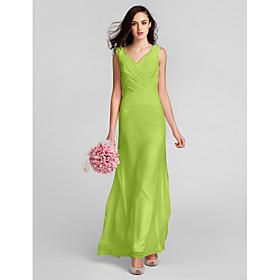 Sheath / Column V Neck Floor Length Chiffon Bridesmaid Dress with Criss Cross by LAN TING BRIDE plus size,  plus size fashion plus size appare