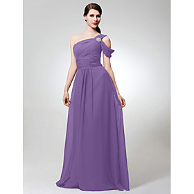 A-Line One Shoulder Floor Length Chiffon Bridesmaid Dress with Ruched Crystal Brooch Side Draping by LAN TING BRIDE plus size,  plus size fashion plus size appare