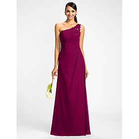 Sheath / Column One Shoulder Floor Length Chiffon Bridesmaid Dress with Beading Appliques Side Draping by LAN TING BRIDE