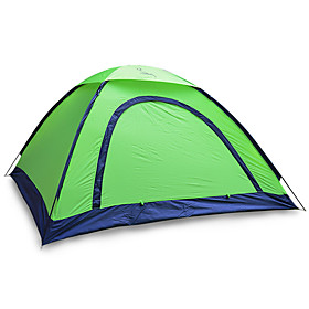 Image of 2 persons Tent Single Fold Tent One Room Camping Tent 1000-1500 mm Fiberglass Oxford Waterproof Portable-Hiking Camping-Green