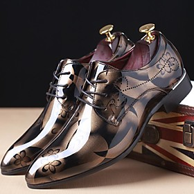 Men's Printed Oxfords Patent Leather Spring / Fall Oxfords Red / Blue / Light Brown / Party  Evening / Party  Evening / Outdoor / Comfort Shoes