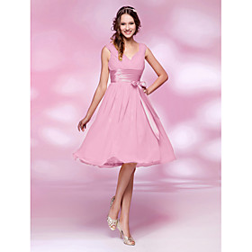 A-Line Princess V-neck Knee Length Chiffon Bridesmaid Dress with Bow(s) Draping Sash / Ribbon Ruching Side Draping by LAN TING BRIDE plus size,  plus size fashion plus size appare