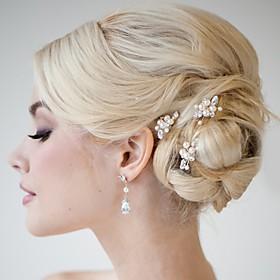 Pearl Crystal Alloy Hair Clip Hair Pin Hair Stick Hair Tool Headpiece 5668369