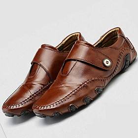 Men's Comfort Shoes Leather Summer / Fall Casual Loafers  Slip-Ons Black / Brown